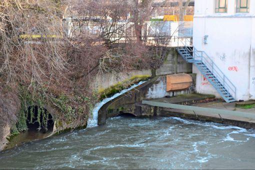 """Klein und steil hangelt sich der """"Fischpass"""" links am Kraftwerk entlang: Um ihren Zweck erfüllen zu können, müsste die Anlage viel größer sein.   Foto: Thomas Graf-Miedaner"""