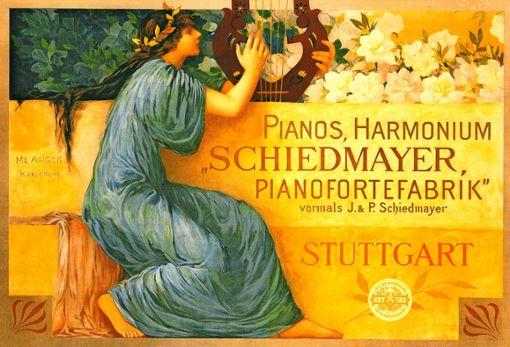 Werbung für die Schiedmayer Pianofortefabrik Stuttgart.   Foto:  z/Schiedmayer Stiftung, Wendlingen am Neckar